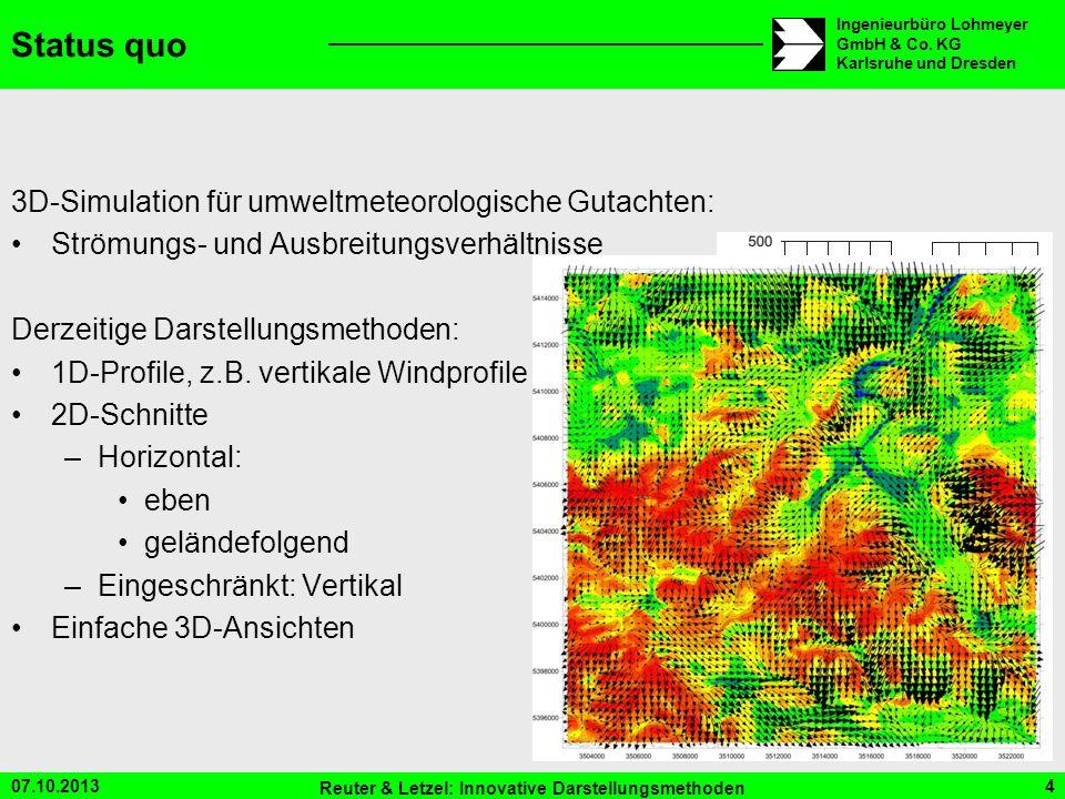 07.10.2013 Reuter & Letzel: Innovative Darstellungsmethoden 4 Ingenieurbüro Lohmeyer GmbH & Co. KG Karlsruhe und Dresden Status quo 3D-Simulation für