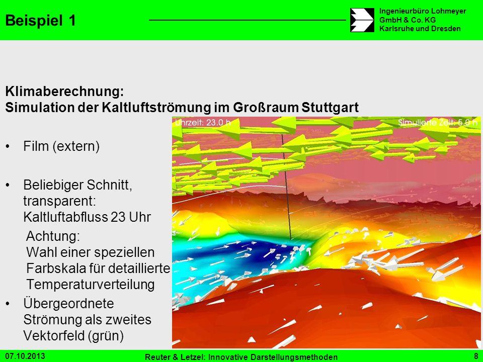 07.10.2013 Reuter & Letzel: Innovative Darstellungsmethoden 8 Ingenieurbüro Lohmeyer GmbH & Co. KG Karlsruhe und Dresden Beispiel 1 Klimaberechnung: S