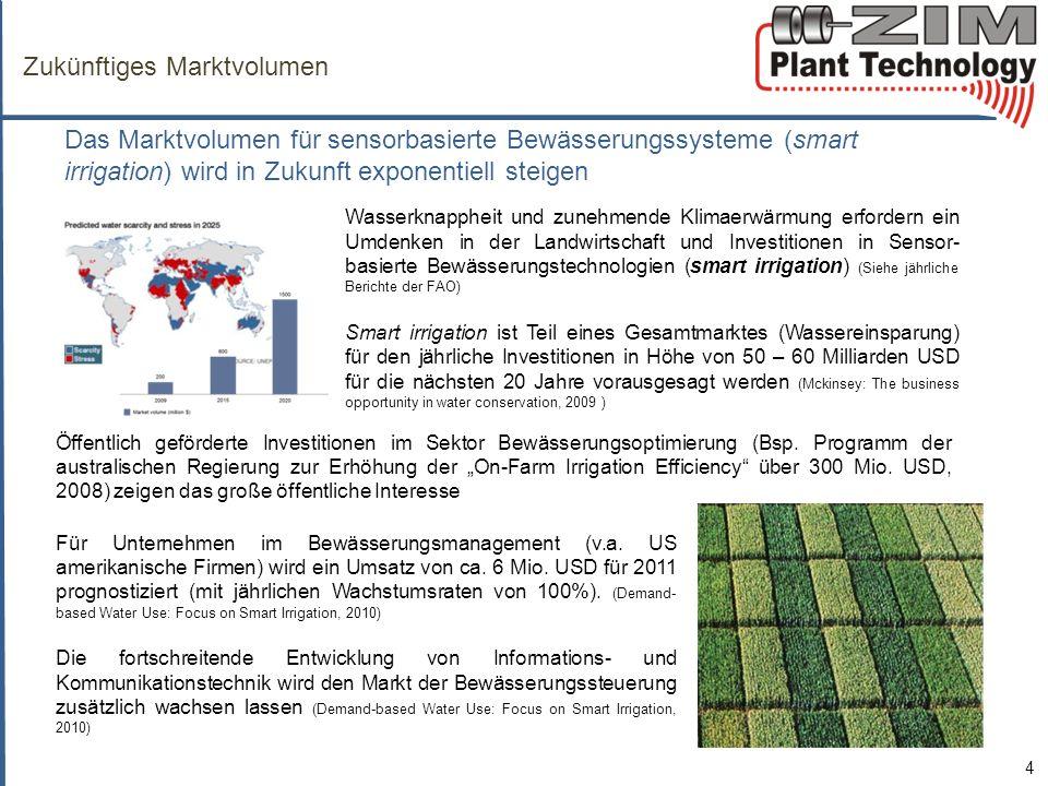 Zukünftiges Marktvolumen 4 Das Marktvolumen für sensorbasierte Bewässerungssysteme (smart irrigation) wird in Zukunft exponentiell steigen Wasserknappheit und zunehmende Klimaerwärmung erfordern ein Umdenken in der Landwirtschaft und Investitionen in Sensor- basierte Bewässerungstechnologien (smart irrigation) (Siehe jährliche Berichte der FAO) Smart irrigation ist Teil eines Gesamtmarktes (Wassereinsparung) für den jährliche Investitionen in Höhe von 50 – 60 Milliarden USD für die nächsten 20 Jahre vorausgesagt werden (Mckinsey: The business opportunity in water conservation, 2009 ) Für Unternehmen im Bewässerungsmanagement (v.a.