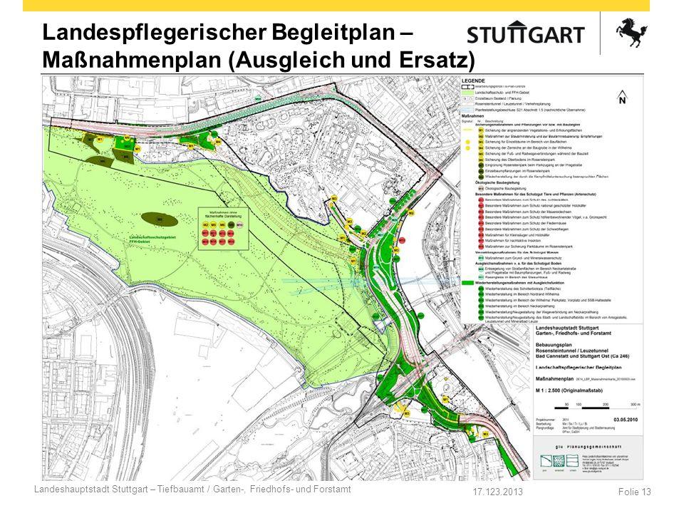 17.123.2013 Landeshauptstadt Stuttgart – Tiefbauamt / Garten-, Friedhofs- und Forstamt Folie 13 Landespflegerischer Begleitplan – Maßnahmenplan (Ausgl