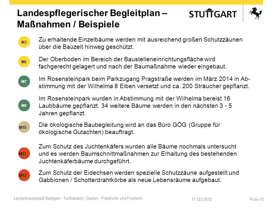 17.123.2013 Landeshauptstadt Stuttgart – Tiefbauamt / Garten-, Friedhofs- und Forstamt Folie 15 Landespflegerischer Begleitplan – Maßnahmen / Beispiel