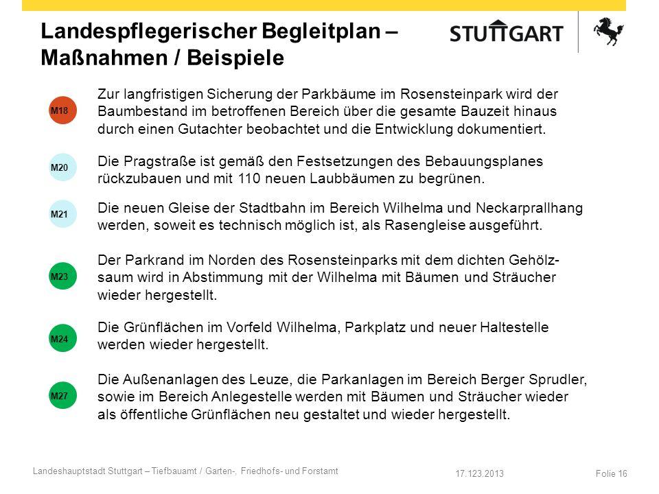 17.123.2013 Landeshauptstadt Stuttgart – Tiefbauamt / Garten-, Friedhofs- und Forstamt Folie 16 Landespflegerischer Begleitplan – Maßnahmen / Beispiel