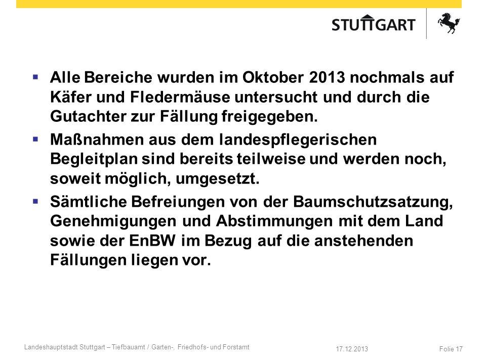 17.12.2013 Landeshauptstadt Stuttgart – Tiefbauamt / Garten-, Friedhofs- und Forstamt Folie 17 Alle Bereiche wurden im Oktober 2013 nochmals auf Käfer