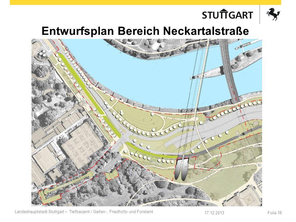 17.12.2013 Landeshauptstadt Stuttgart – Tiefbauamt / Garten-, Friedhofs- und Forstamt Folie 18 Entwurfsplan Bereich Neckartalstraße