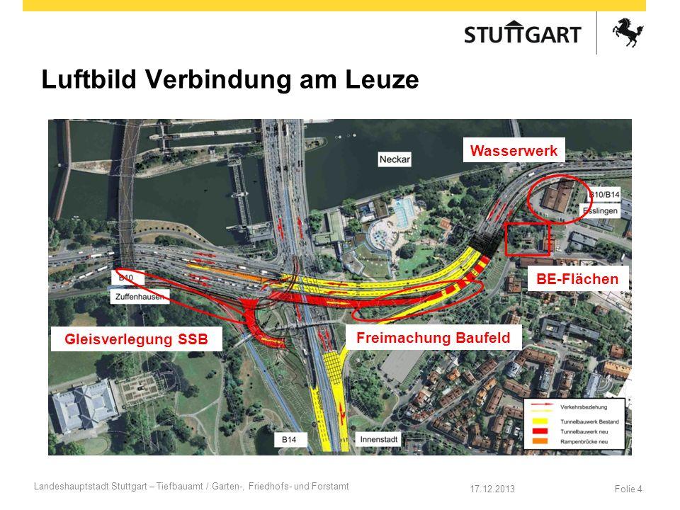 Luftbild Verbindung am Leuze Folie 417.12.2013 Landeshauptstadt Stuttgart – Tiefbauamt / Garten-, Friedhofs- und Forstamt Wasserwerk BE-Flächen Gleisv