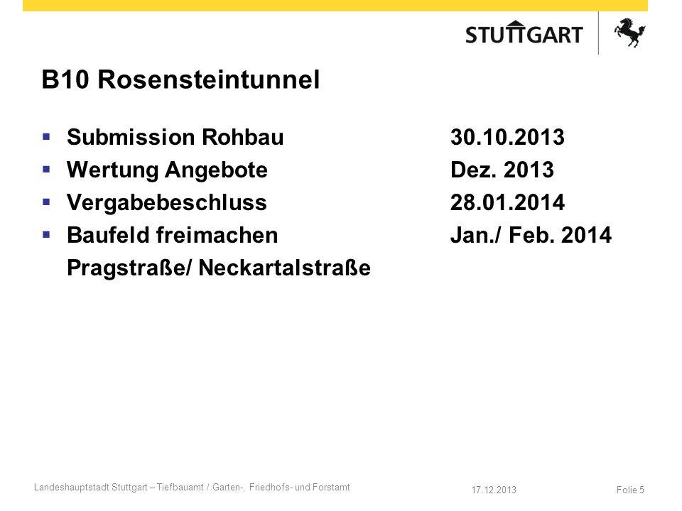 B10 Rosensteintunnel Submission Rohbau 30.10.2013 Wertung Angebote Dez. 2013 Vergabebeschluss 28.01.2014 Baufeld freimachen Jan./ Feb. 2014 Pragstraße