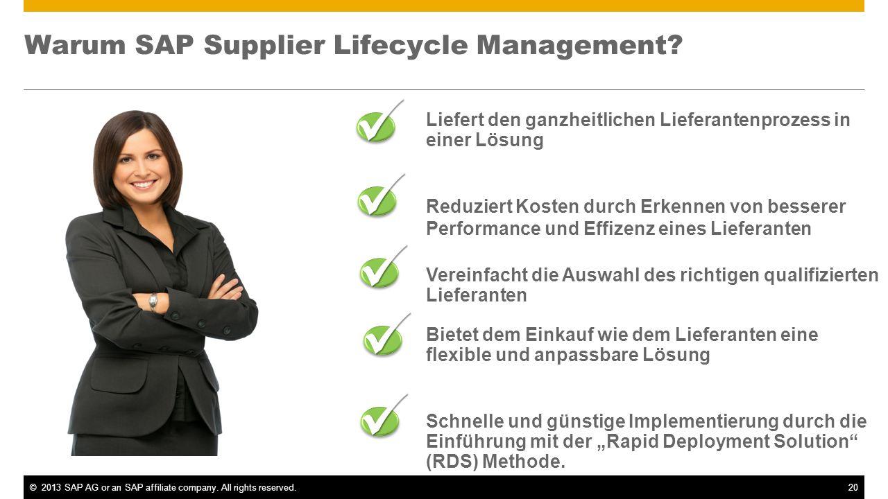 ©2013 SAP AG or an SAP affiliate company. All rights reserved.20 Liefert den ganzheitlichen Lieferantenprozess in einer Lösung Reduziert Kosten durch