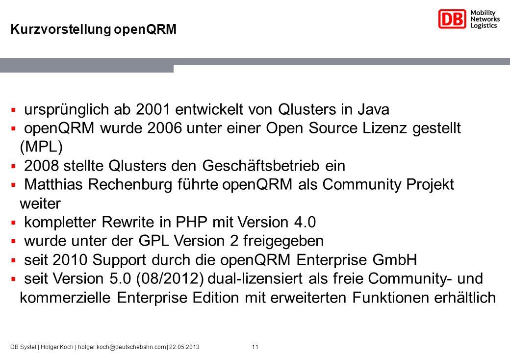 11DB Systel | Holger Koch | holger.koch@deutschebahn.com | 22.05.2013 Kurzvorstellung openQRM ursprünglich ab 2001 entwickelt von Qlusters in Java ope