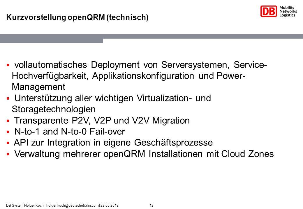 12DB Systel | Holger Koch | holger.koch@deutschebahn.com | 22.05.2013 Kurzvorstellung openQRM (technisch) vollautomatisches Deployment von Serversyste