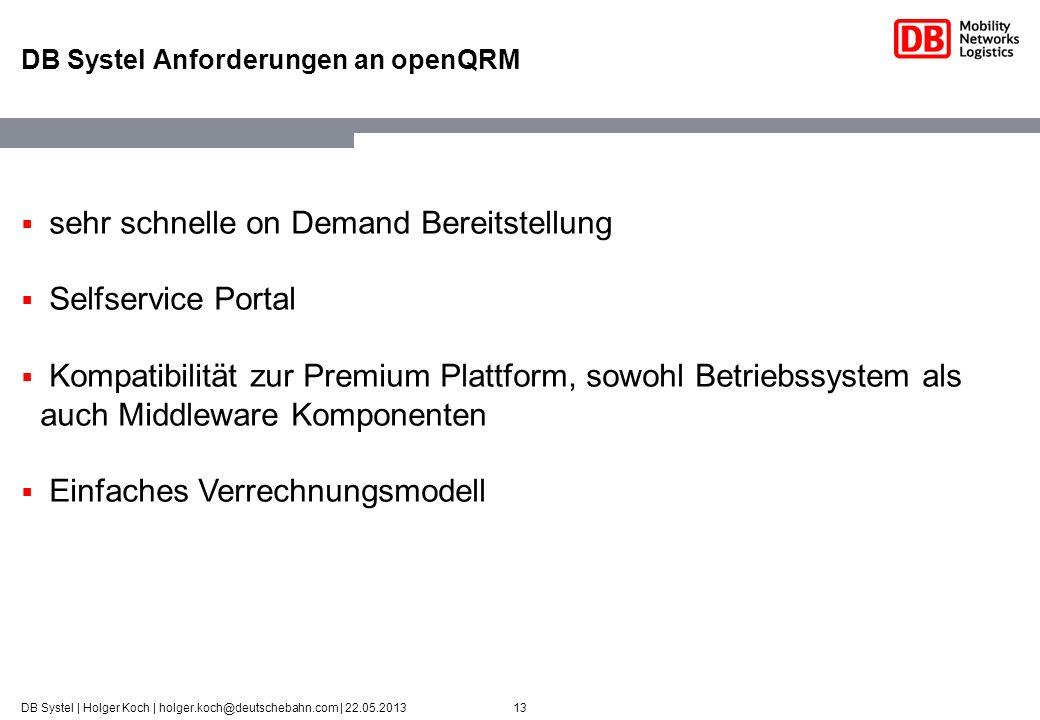 13DB Systel | Holger Koch | holger.koch@deutschebahn.com | 22.05.2013 DB Systel Anforderungen an openQRM sehr schnelle on Demand Bereitstellung Selfse
