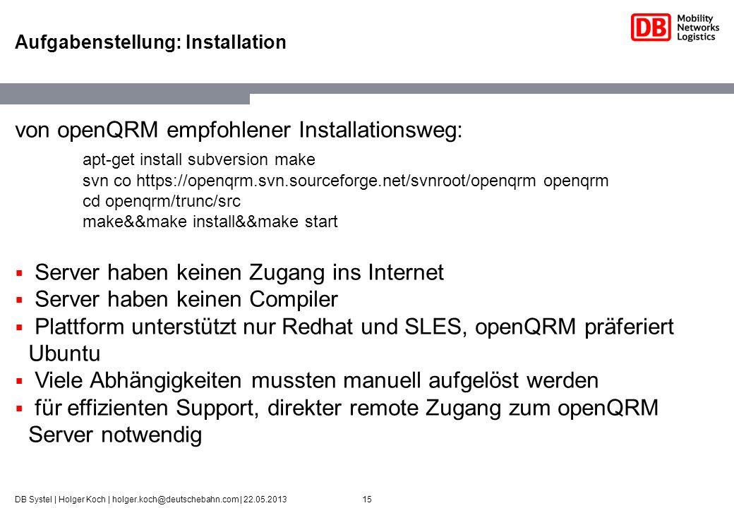 15DB Systel | Holger Koch | holger.koch@deutschebahn.com | 22.05.2013 Aufgabenstellung: Installation von openQRM empfohlener Installationsweg: apt-get
