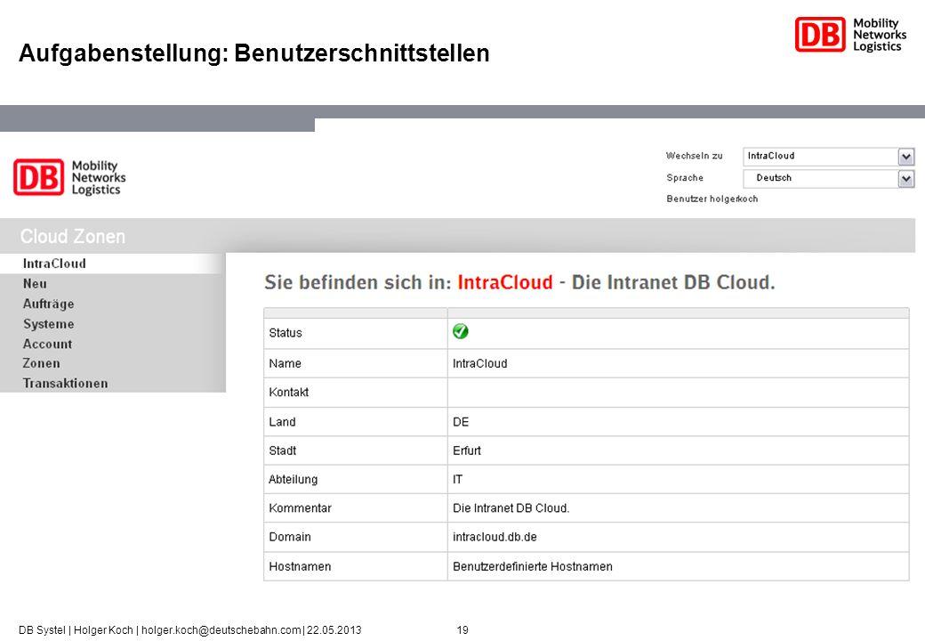 19DB Systel | Holger Koch | holger.koch@deutschebahn.com | 22.05.2013 Aufgabenstellung: Benutzerschnittstellen