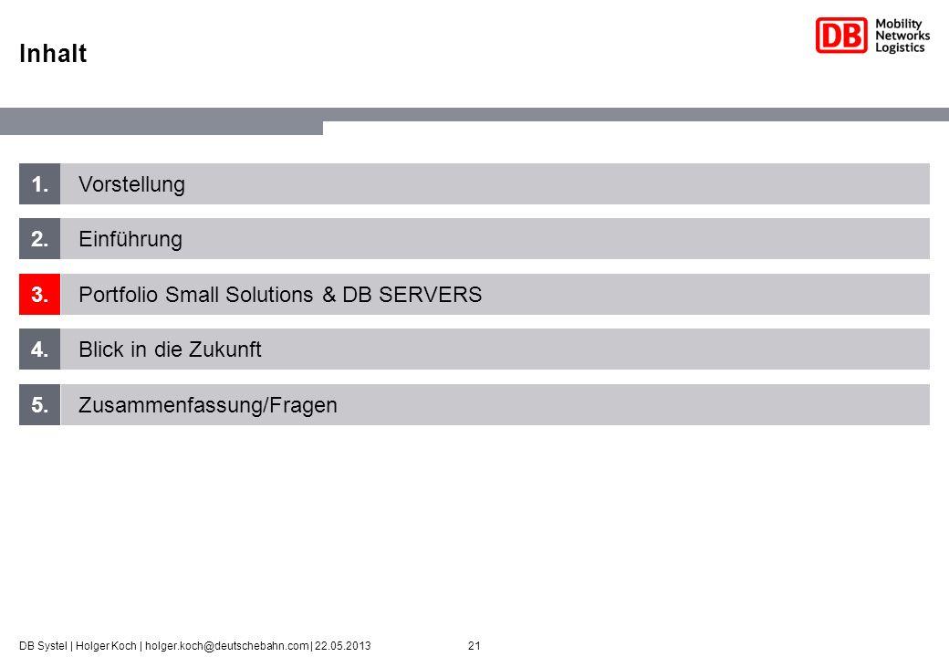21DB Systel | Holger Koch | holger.koch@deutschebahn.com | 22.05.2013 1. 2. 3. 4. 5. Vorstellung Einführung Portfolio Small Solutions & DB SERVERS Bli