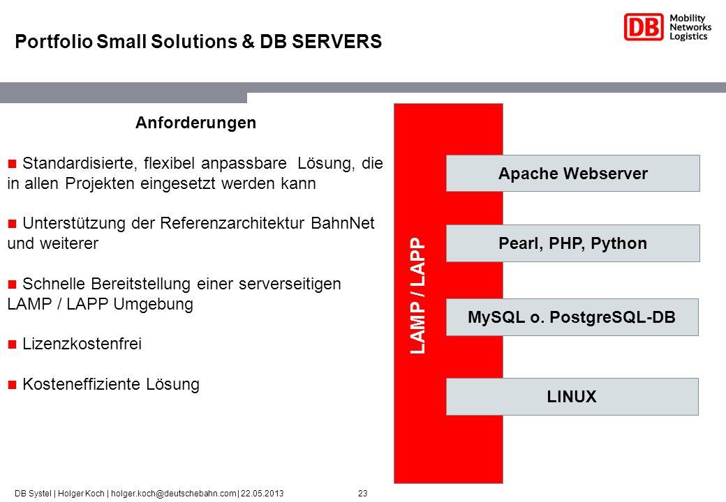 23DB Systel | Holger Koch | holger.koch@deutschebahn.com | 22.05.2013 Portfolio Small Solutions & DB SERVERS AZUBI LINUX-Server Apache Webserver Pearl