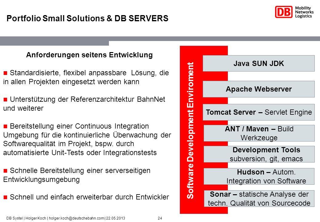 24DB Systel | Holger Koch | holger.koch@deutschebahn.com | 22.05.2013 Portfolio Small Solutions & DB SERVERS Apache Webserver Tomcat Server – Servlet