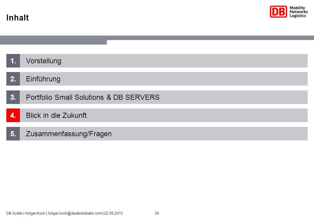 25DB Systel | Holger Koch | holger.koch@deutschebahn.com | 22.05.2013 1. 2. 3. 4. 5. Vorstellung Einführung Portfolio Small Solutions & DB SERVERS Bli