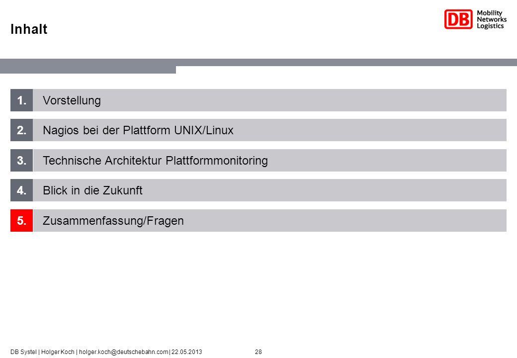 28DB Systel | Holger Koch | holger.koch@deutschebahn.com | 22.05.2013 1. 2. 3. 4. 5. Vorstellung Nagios bei der Plattform UNIX/Linux Technische Archit