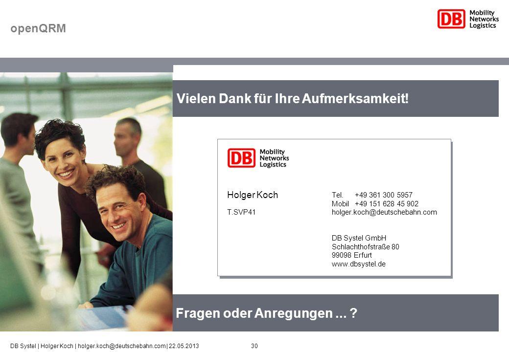30DB Systel | Holger Koch | holger.koch@deutschebahn.com | 22.05.2013 Fragen oder Anregungen... ? Vielen Dank für Ihre Aufmerksamkeit! Tel. +49 361 30