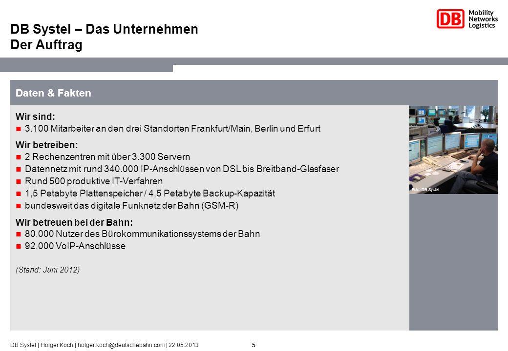 6DB Systel   Holger Koch   holger.koch@deutschebahn.com   22.05.2013 Personenverkehr 2,7 Milliarden Reisende mit Bahn und Bus pro Jahr 26.000 Personenzüge pro Tag 1-mal um die Welt fährt jeder ICE in Deutschland umgerechnet pro Monat Netze 5.700 Bahnhöfe 33.600 km Streckennetz – 3-mal so lang wie die deutschen Autobahnen 72.000 Weichen/Kreuzungen 5-größter Stromversorger in Deutschland Transport & Logistik 412 Millionen Tonnen beförderte Güter auf der Schiene pro Jahr 1,2 Million Tonnen Luftfrachtvolumen pro Jahr 1,6 Millionen TEU 1 Seefrachtvolumen pro Jahr 96 Millionen Sendungen im europäischen Landverkehr pro Jahr Über 5 Millionen Quadratmeter Lagerfläche weltweit Die Deutsche Bahn AG – Daten und Fakten Geschäftsfelder in Zahlen (Stand 2012) 6 Foto: Roland Horn 1) Twenty-foot Equivalent Unit = Containereinheit