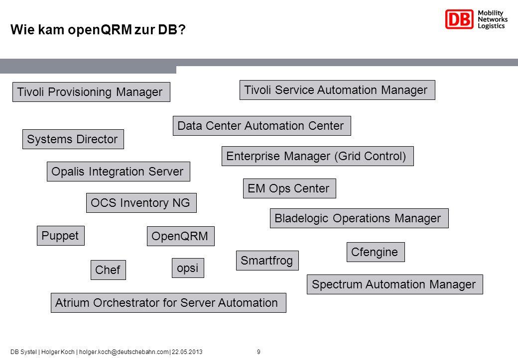 9DB Systel | Holger Koch | holger.koch@deutschebahn.com | 22.05.2013 Wie kam openQRM zur DB? Tivoli Provisioning Manager Systems Director Tivoli Servi