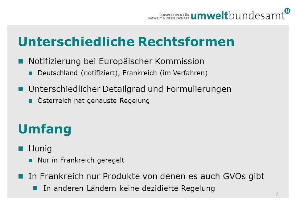 Unterschiedliche Rechtsformen 3 Notifizierung bei Europäischer Kommission Deutschland (notifiziert), Frankreich (im Verfahren) Unterschiedlicher Detai