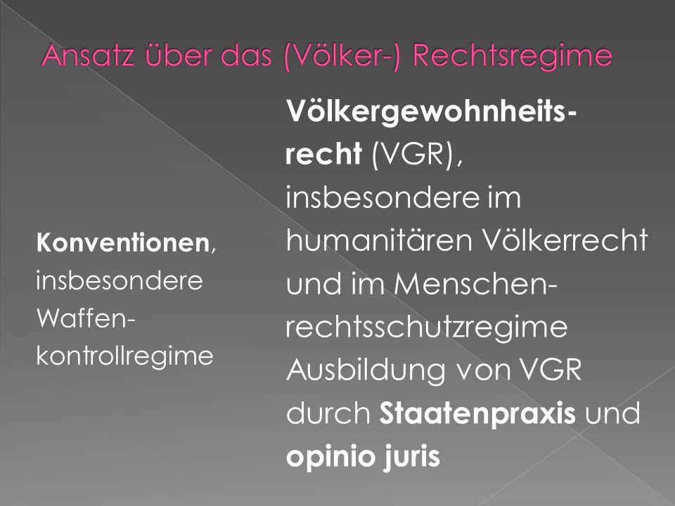 Konventionen, insbesondere Waffen- kontrollregime Völkergewohnheits- recht (VGR), insbesondere im humanitären Völkerrecht und im Menschen- rechtsschut