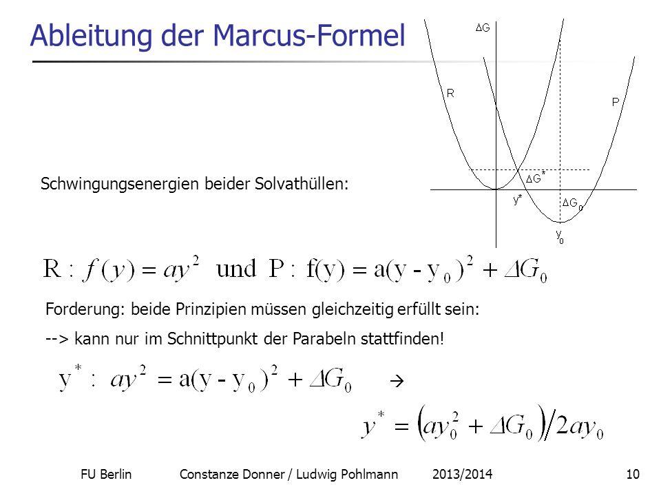 FU Berlin Constanze Donner / Ludwig Pohlmann 2013/201410 Ableitung der Marcus-Formel Schwingungsenergien beider Solvathüllen: Forderung: beide Prinzip