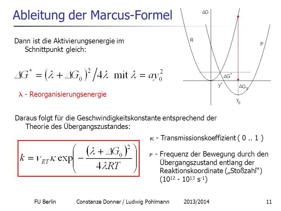 FU Berlin Constanze Donner / Ludwig Pohlmann 2013/201411 Ableitung der Marcus-Formel Dann ist die Aktivierungsenergie im Schnittpunkt gleich: - Reorga