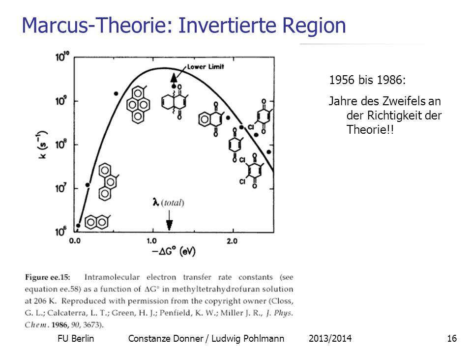 FU Berlin Constanze Donner / Ludwig Pohlmann 2013/201416 Marcus-Theorie: Invertierte Region 1956 bis 1986: Jahre des Zweifels an der Richtigkeit der T