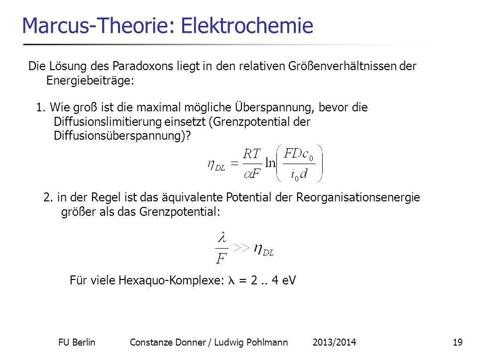 FU Berlin Constanze Donner / Ludwig Pohlmann 2013/201419 Marcus-Theorie: Elektrochemie Die Lösung des Paradoxons liegt in den relativen Größenverhältn