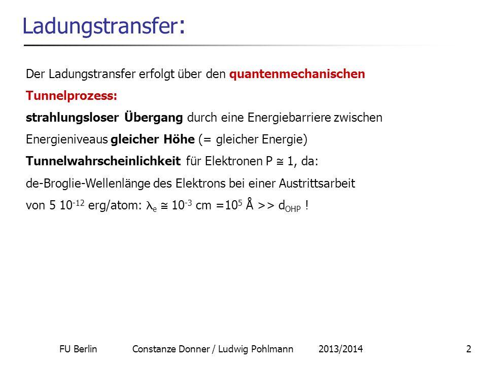 FU Berlin Constanze Donner / Ludwig Pohlmann 2013/20142 Ladungstransfer : Der Ladungstransfer erfolgt über den quantenmechanischen Tunnelprozess: stra