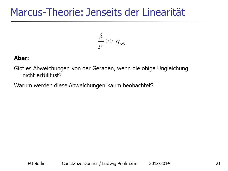 FU Berlin Constanze Donner / Ludwig Pohlmann 2013/201421 Marcus-Theorie: Jenseits der Linearität Aber: Gibt es Abweichungen von der Geraden, wenn die