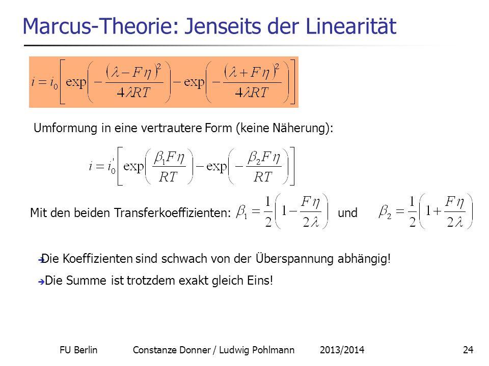 FU Berlin Constanze Donner / Ludwig Pohlmann 2013/201424 Marcus-Theorie: Jenseits der Linearität Umformung in eine vertrautere Form (keine Näherung):