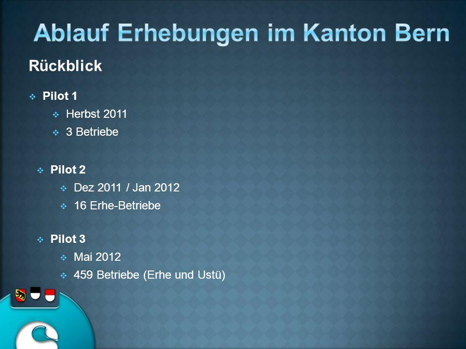 Pilot 1 Herbst 2011 3 Betriebe Pilot 2 Dez 2011 / Jan 2012 16 Erhe-Betriebe Pilot 3 Mai 2012 459 Betriebe (Erhe und Ustü) Rückblick