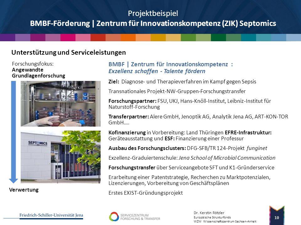 Dr. Kerstin Rötzler Europäische Strukturfonds WZW Wissenschaftszentrum Sachsen-Anhalt 9 Beratungsleistungen am Beispiel ausgewählter Projektbeispiele