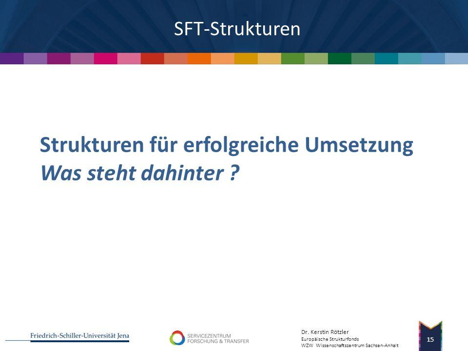 Dr. Kerstin Rötzler Europäische Strukturfonds WZW Wissenschaftszentrum Sachsen-Anhalt Erfolgsfaktoren 14 Forschungsförderung und -transfers als strate