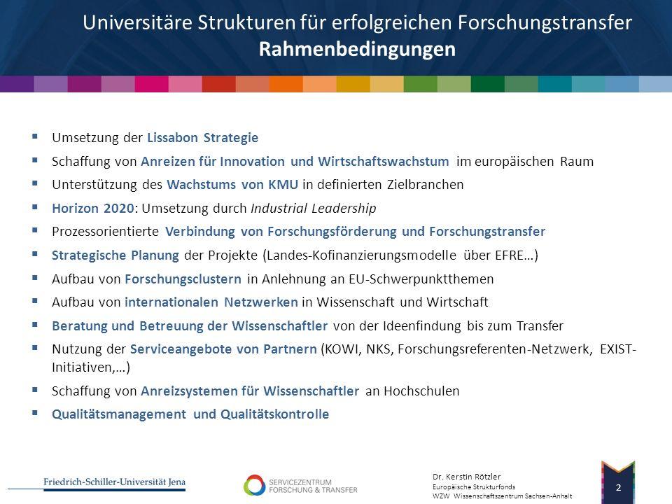 Forum Europäische Strukturfonds - Finanzierung für wissenschaftliche Einrichtungen Wzw Wissenschaftszentrum Sachsen-Anhalt 2007-2013 Kerstin Rötzler |