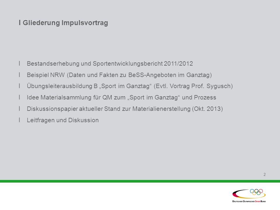 l Gliederung Impulsvortrag l Bestandserhebung und Sportentwicklungsbericht 2011/2012 l Beispiel NRW (Daten und Fakten zu BeSS-Angeboten im Ganztag) l