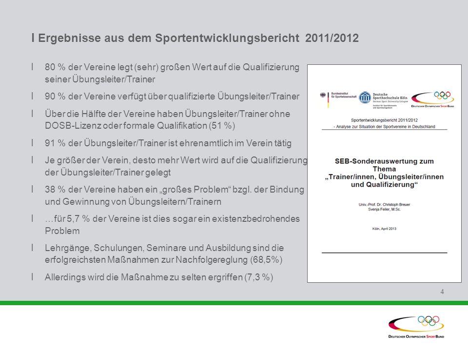 l Ergebnisse aus dem Sportentwicklungsbericht 2011/2012 l 80 % der Vereine legt (sehr) großen Wert auf die Qualifizierung seiner Übungsleiter/Trainer