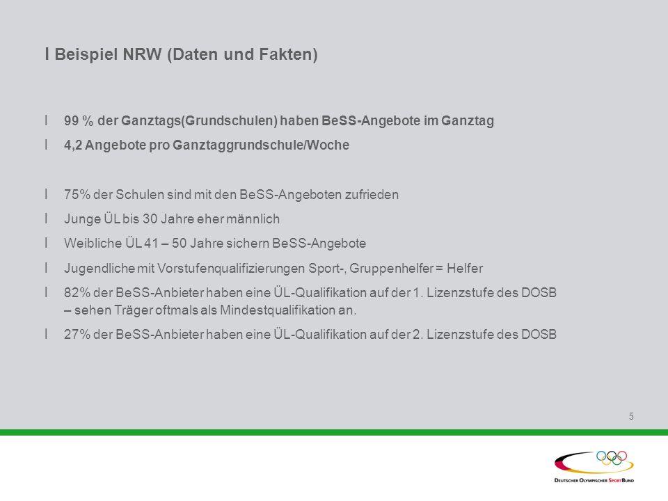 l Beispiel NRW (Daten und Fakten) l 99 % der Ganztags(Grundschulen) haben BeSS-Angebote im Ganztag l 4,2 Angebote pro Ganztaggrundschule/Woche l 75% d