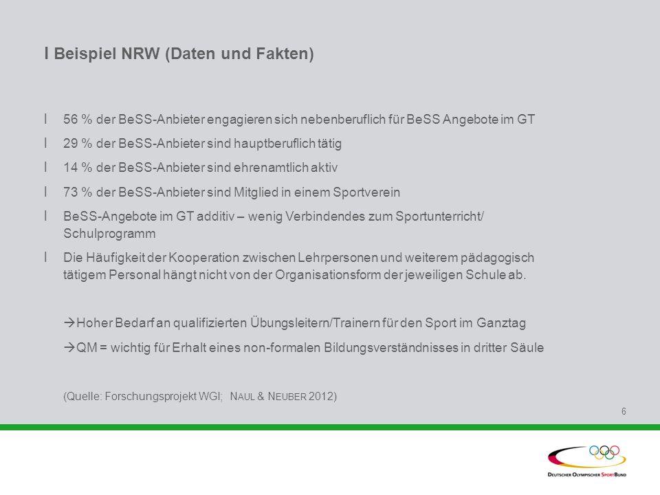 l Beispiel NRW (Daten und Fakten) l 56 % der BeSS-Anbieter engagieren sich nebenberuflich für BeSS Angebote im GT l 29 % der BeSS-Anbieter sind hauptb