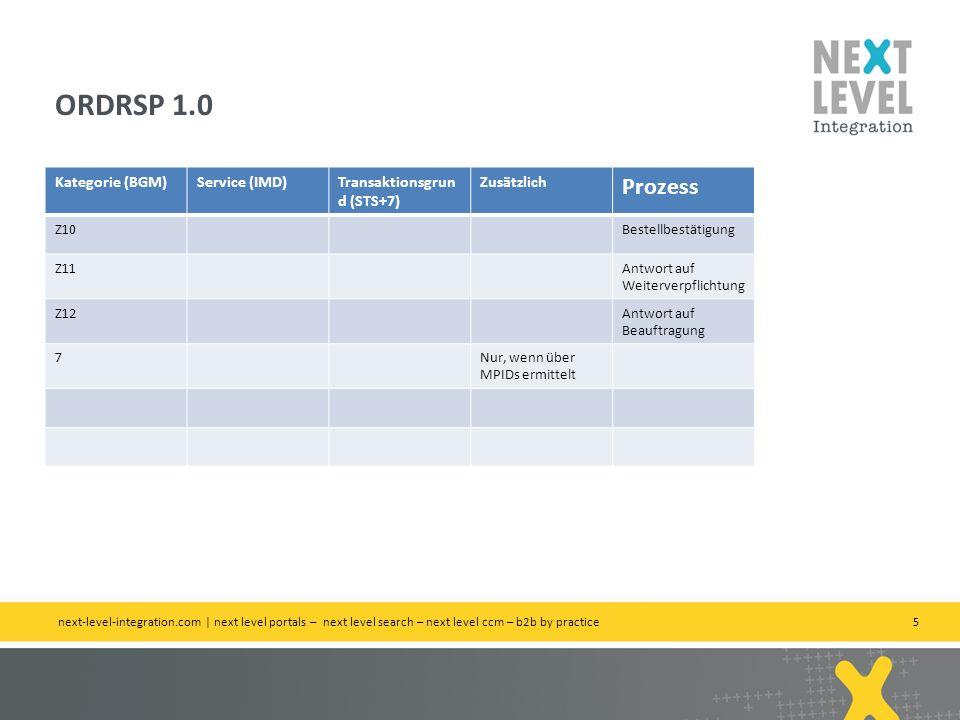 5 Kategorie (BGM)Service (IMD)Transaktionsgrun d (STS+7) Zusätzlich Prozess Z10Bestellbestätigung Z11Antwort auf Weiterverpflichtung Z12Antwort auf Beauftragung 7Nur, wenn über MPIDs ermittelt ORDRSP 1.0 next-level-integration.com | next level portals – next level search – next level ccm – b2b by practice