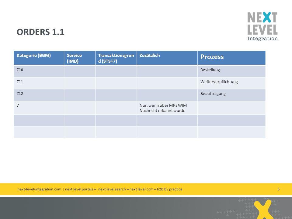 6 Kategorie (BGM)Service (IMD) Transaktionsgrun d (STS+7) Zusätzlich Prozess Z10Bestellung Z11Weiterverpflichtung Z12Beauftragung 7Nur, wenn über MPs WIM Nachricht erkannt wurde ORDERS 1.1 next-level-integration.com | next level portals – next level search – next level ccm – b2b by practice