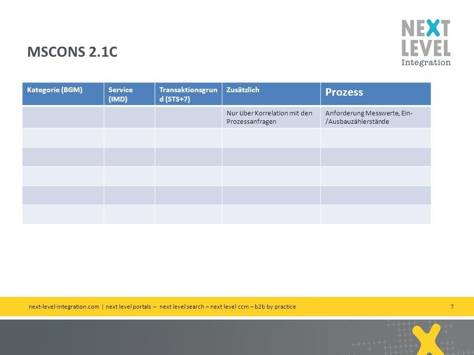 7 Kategorie (BGM)Service (IMD) Transaktionsgrun d (STS+7) Zusätzlich Prozess Nur über Korrelation mit den Prozessanfragen Anforderung Messwerte, Ein-