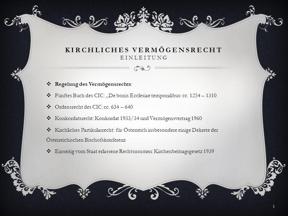 KIRCHLICHES VERMÖGENSRECHT EINLEITUNG Regelung des Vermögensrechts: Fünftes Buch des CIC: De bonis Ecclesiae temporalibus: cc. 1254 – 1310 Ordensrecht