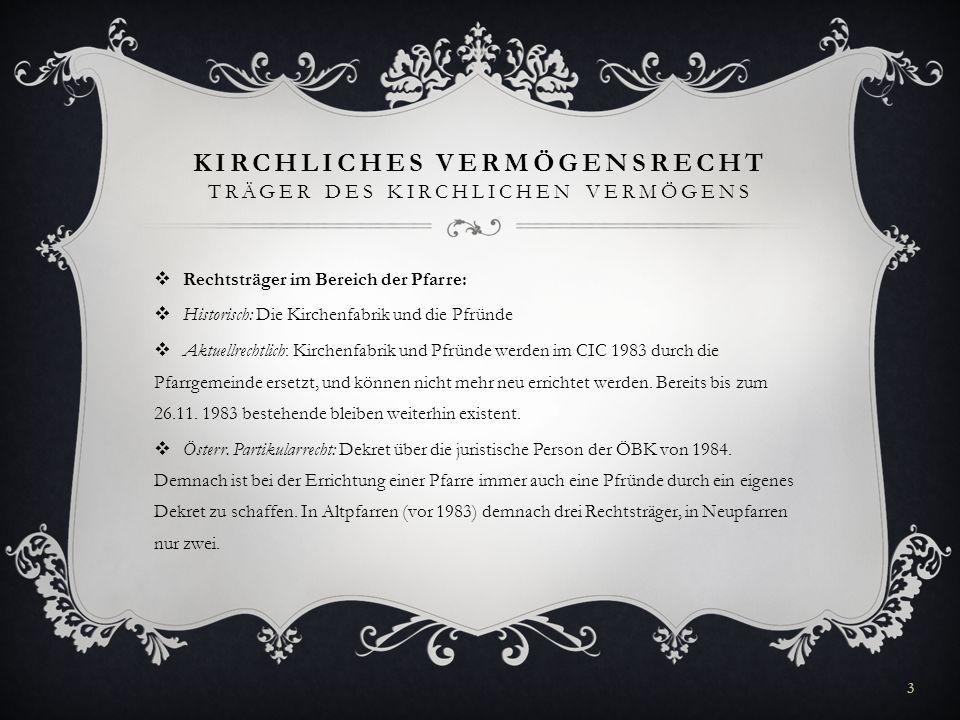 KIRCHLICHES VERMÖGENSRECHT TRÄGER DES KIRCHLICHEN VERMÖGENS Rechtsträger im Bereich der Pfarre: Historisch: Die Kirchenfabrik und die Pfründe Aktuellr