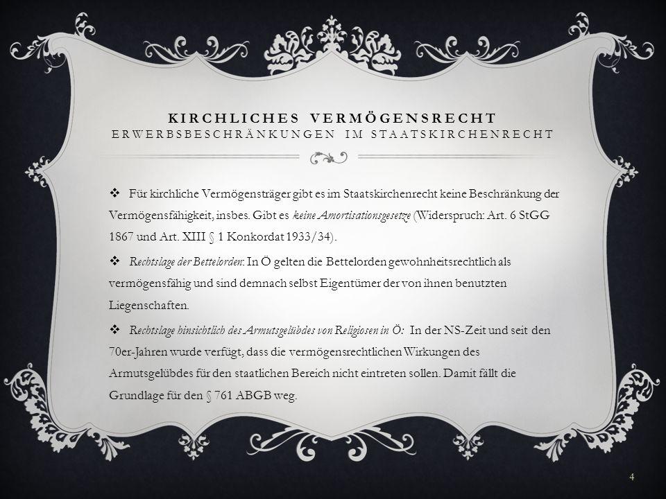 KIRCHLICHES VERMÖGE NSRECHT ERWERB KIRCHLICHEN VERMÖGENS 1.