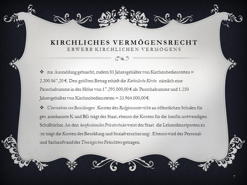 KIRCHLICHES VERMÖGENSRECHT ERWERB KIRCHLICHEN VERMÖGENS zur Auszahlung gebracht, zudem 81 Jahresgehälter von Kirchenbediensteten = 2.200.867,20. Den g