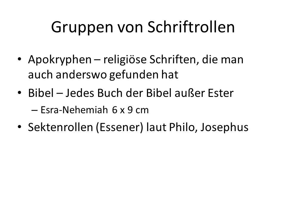 Gruppen von Schriftrollen Apokryphen – religiöse Schriften, die man auch anderswo gefunden hat Bibel – Jedes Buch der Bibel außer Ester – Esra-Nehemia