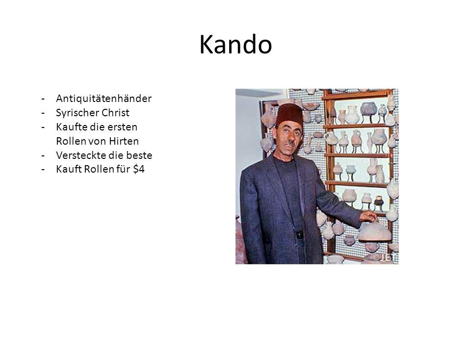 Kando -Antiquitätenhänder -Syrischer Christ -Kaufte die ersten Rollen von Hirten -Versteckte die beste -Kauft Rollen für $4